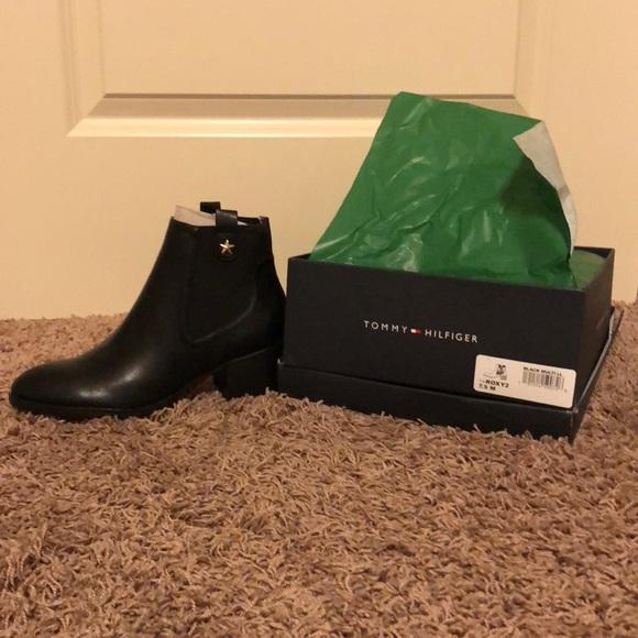 e4bd3ba9 Tommy Hilfiger Shoes | Nib Black Size 75 Roxy Booties | Poshmark